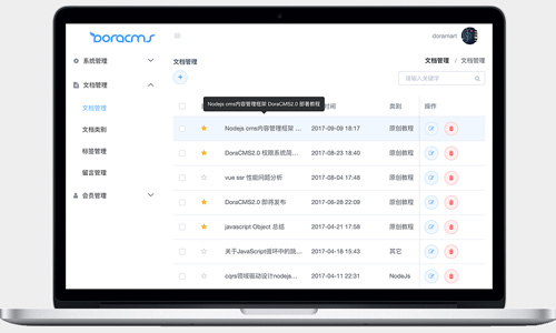 Nodejs cms内容管理框架 DoraCMS v2.0.0 版本更新